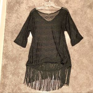 NWOT- crochet swimsuit coverup with fringe bottom